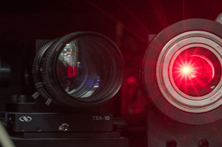 camera lens with red glare
