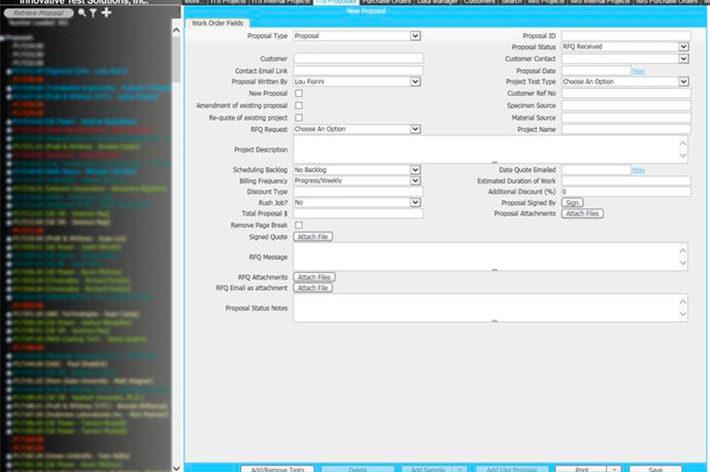 screenshot of lims software