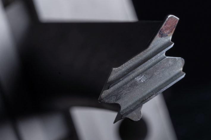 closeup of solid metal modeling
